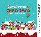vintage christmas poster design ... | Shutterstock .eps vector #525428755