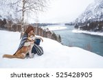 beautiful woman and her dog... | Shutterstock . vector #525428905