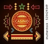 retro casino icons  pointers ... | Shutterstock .eps vector #525429349