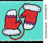 handmade vector red christmas... | Shutterstock .eps vector #525430075