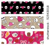 set of emo banners with skulls... | Shutterstock .eps vector #52543018
