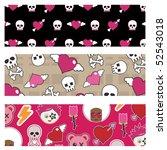 set of emo banners with skulls... | Shutterstock .eps vector #52543018