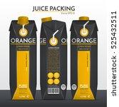 orange juice packaging.... | Shutterstock .eps vector #525432511