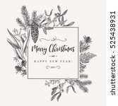 christmas holiday frame  with... | Shutterstock .eps vector #525438931