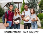 multiethnic group of cheerful... | Shutterstock . vector #525439699