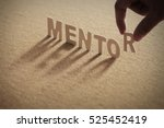 mentor wood word on compressed... | Shutterstock . vector #525452419