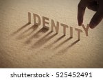 identity wood word on... | Shutterstock . vector #525452491