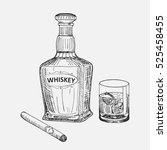 creative sketch of whiskey... | Shutterstock .eps vector #525458455