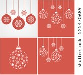snowflakes on red background.... | Shutterstock .eps vector #525470689