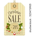 christmas sale tags in vintage... | Shutterstock .eps vector #525473905