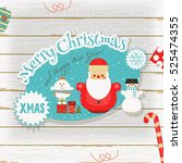 christmas card   little snowman ... | Shutterstock .eps vector #525474355