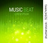 music beat vector. green lights ... | Shutterstock .eps vector #525474991
