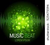music beat vector. green lights ... | Shutterstock .eps vector #525475594