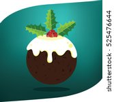 christmas pudding with holly... | Shutterstock .eps vector #525476644