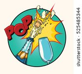 pop sound of opening champagne | Shutterstock .eps vector #525485344