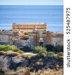 Small photo of The south gate of Fort Ricasoli with the famous braids form colums as seen from Kalkara over the Rinella bay, Kalkara, Malta.