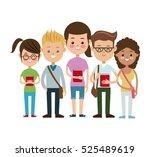 back to school study puplis team | Shutterstock .eps vector #525489619