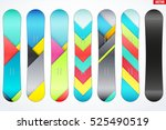 set of snowboard with different ... | Shutterstock .eps vector #525490519