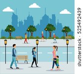 people walking in street city | Shutterstock .eps vector #525492439
