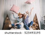 crazy couple posing in the home ... | Shutterstock . vector #525493195