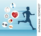 man running and icon set of... | Shutterstock .eps vector #525494227