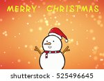 a snowman with a santa hat....   Shutterstock . vector #525496645