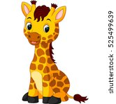 cute giraffe cartoon | Shutterstock .eps vector #525499639