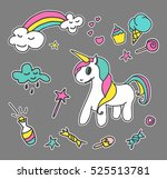 fashion patch badges. magic set.... | Shutterstock .eps vector #525513781
