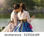 Two Korean Girl Dressed In Old...