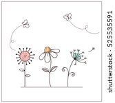hand drawn doodle flowers set... | Shutterstock .eps vector #525535591