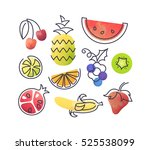 Colorful vector icons' set of fruits. Isolated creative design healthy life objects. Vegetarian and vegan food halftone textured and monoline symbols' pack. No gradients  | Shutterstock vector #525538099