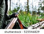 woman hunter with a gun.... | Shutterstock . vector #525546829