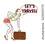 Pinup Girl With Suitcase.