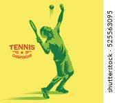 Retro Tennis Player Serves The...