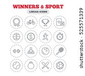 winners and sport icons. winner ... | Shutterstock . vector #525571339