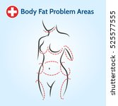 female body fat problem areas... | Shutterstock .eps vector #525577555