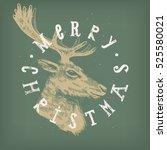 christmas reindeer vintage card....   Shutterstock .eps vector #525580021