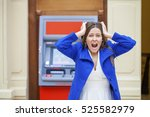 frustrated young woman stands... | Shutterstock . vector #525582979