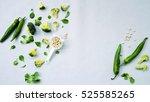 top view green vegetables  ... | Shutterstock . vector #525585265