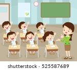 teacher standing teaching in... | Shutterstock .eps vector #525587689