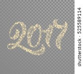 gold glittering 2017 numbers...   Shutterstock .eps vector #525589114