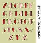 christmas alphabet. knitted... | Shutterstock .eps vector #525593431