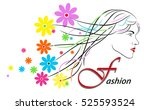 beauty fashionable girl. floral ...   Shutterstock .eps vector #525593524
