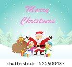 merry christmas. happy child... | Shutterstock . vector #525600487