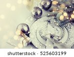 table setting with christmas... | Shutterstock . vector #525603199