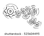 doodle icon of gears.... | Shutterstock .eps vector #525604495