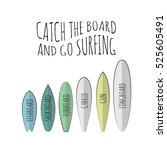 holiday surfboards on the ocean ... | Shutterstock .eps vector #525605491