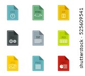 files icons set. flat... | Shutterstock . vector #525609541