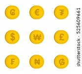 money of countries icons set.... | Shutterstock . vector #525609661