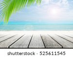 old wood table top on blurred... | Shutterstock . vector #525611545